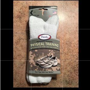 1pr Thorlos Training Crew Socks White Unisex Small